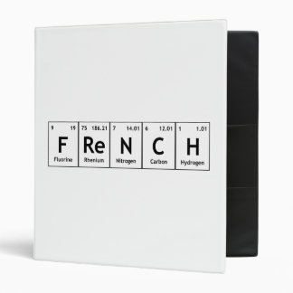 FReNCH Chemistry Periodic Table Words Elements 3 Ring Binder