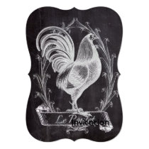 french chic chalkboard western country rooster invitation