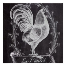 french chic chalkboard western country rooster poster