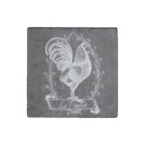 french chic chalkboard western country rooster stone magnet