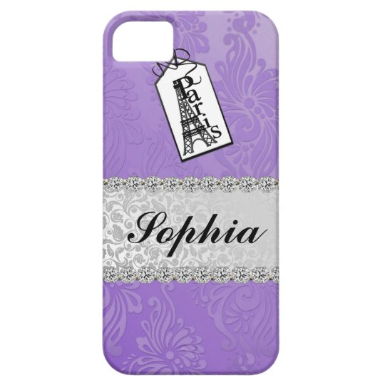 FRENCH CHIC  LAVENDER  PARIS BLING IPHONE 5 CASE