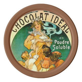 French Chocolate Ad c1895 Poker Chips Set