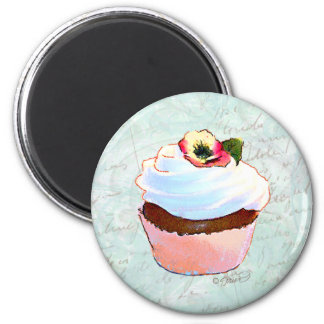 French Chocolate Cupcake Victorian Style 2 Inch Round Magnet