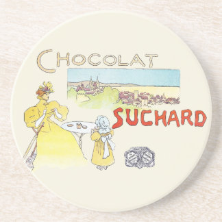 French Chocolate Vintage Candy Advertising Sandstone Coaster