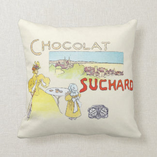 French Chocolate Vintage Candy Advertising Throw Pillow