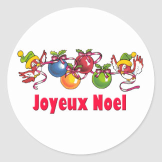 French Christmas Birds Classic Round Sticker