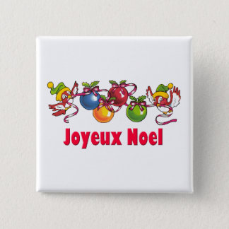 French Christmas Birds Pinback Button
