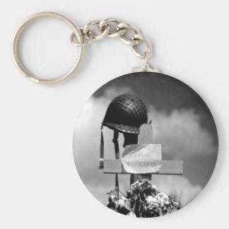 French civilians erected this silent_War Image Basic Round Button Keychain
