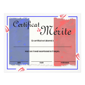 French Class Generic Certificate Flyer