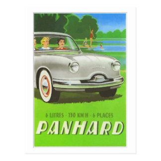 French classic car ad painting Panhard Postcard
