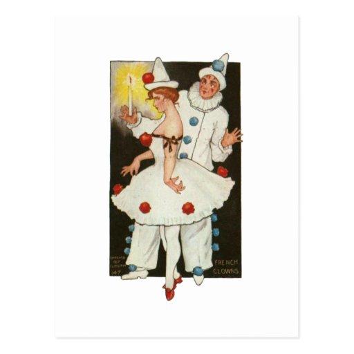 French Clowns Postcard