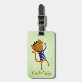French Cool Cat Luggage Tags