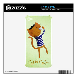 French Cool Cat Decals For iPhone 4