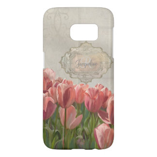 French Coral Pink Tulips w Grey Wood Scrolls Art Samsung Galaxy S7 Case