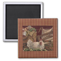 French Country Barn Red/Hens Fridge Magnet