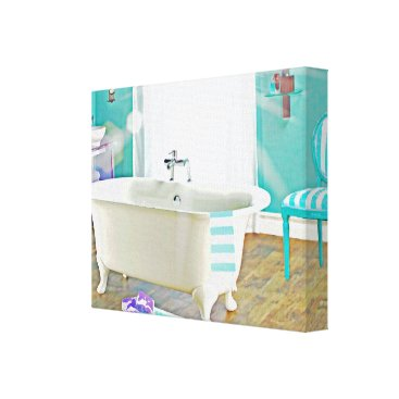 frankiesdaughter French Country Bath Watercolor Canvas Art Print