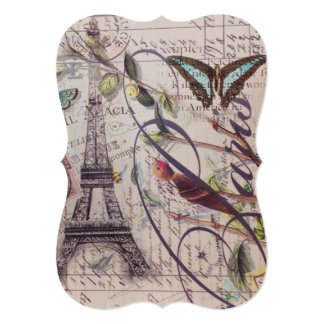 French country bird butterfly Paris Eiffel Tower Card