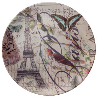 French country bird butterfly Paris Eiffel Tower Dinner Plate