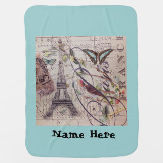 French country bird butterfly Paris Eiffel Tower Receiving Blanket