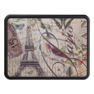 French country bird butterfly Paris Eiffel Tower Trailer Hitch Cover