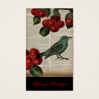 french country bird retro botanical red cherry business card