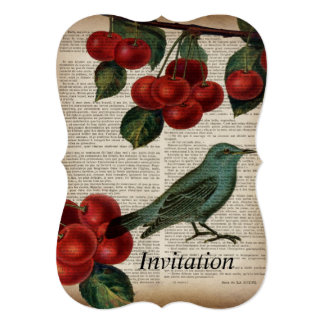 french country bird retro botanical red cherry card