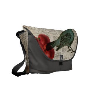 french country bird retro botanical red cherry courier bag