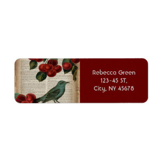 french country bird retro botanical red cherry label