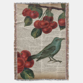 french country bird retro botanical red cherry throw blanket