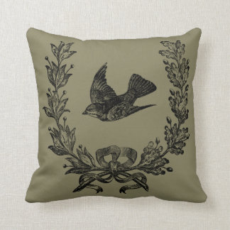"""French Country Bird Throw Pillow 16"""" x 16"""""""