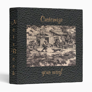 French Country Black Toile Leather Print Binder