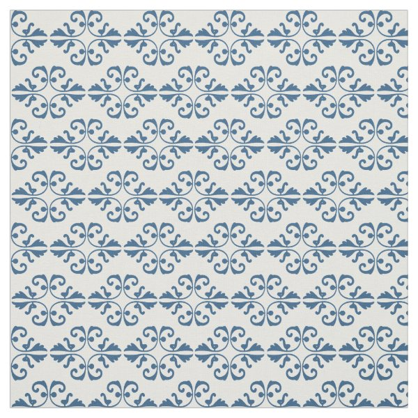 French country blue damask on white background fabric