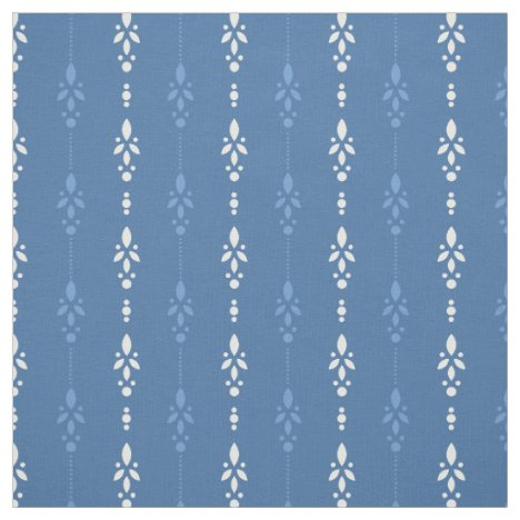 French country blue denim look floral striped fabric