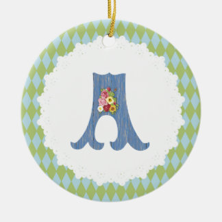 French Country Blue/Green with Custom Monogram Ceramic Ornament