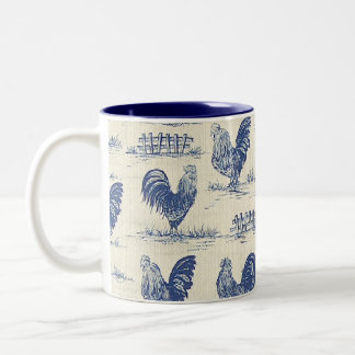 French Country Blue Roosters Coffee Cup Two-Tone Coffee Mug