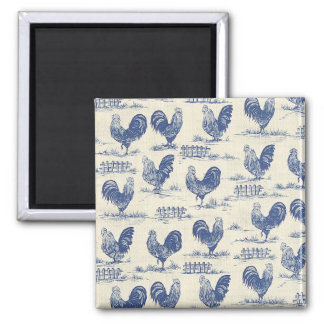 French Country Blue Roosters Fridge Magnet