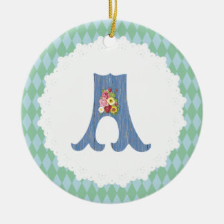French Country Blue/Teal with Custom Monogram Ceramic Ornament