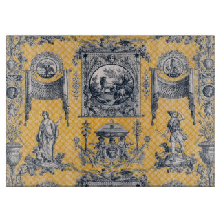 French Country Blue & Yellow Toile Cutting Board