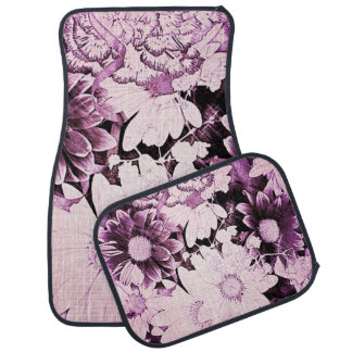 French country boho chic wildflower purple daisy car floor mat