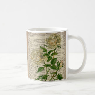 french country botanical art victorian white rose coffee mug