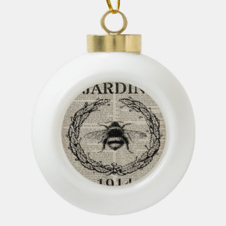 french country botanical vintage queen bee ceramic ball christmas ornament