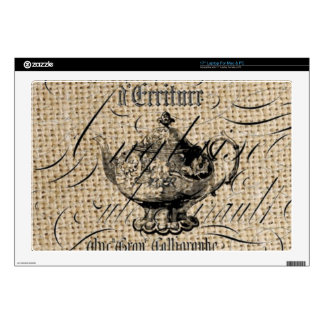 "french country burlap scripts teapot tea party 17"" laptop decals"