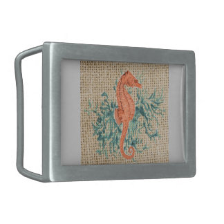 french country burlap shabby chic coral seahorse belt buckle