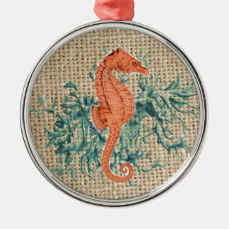 french country burlap shabby chic coral seahorse metal ornament