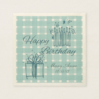 French Country Check Happy Birthday Paper Napkins