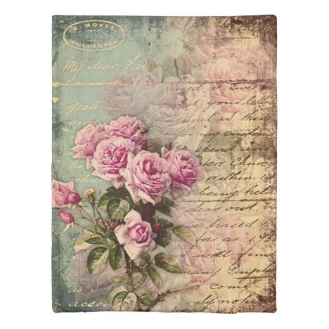 French country chic,shabby chic, pink roses, flora duvet cover