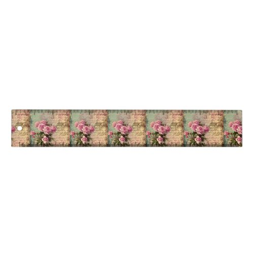 French country chic,shabby chic, pink roses, flora ruler