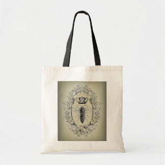 french country chic victorian crown queen bee tote bag