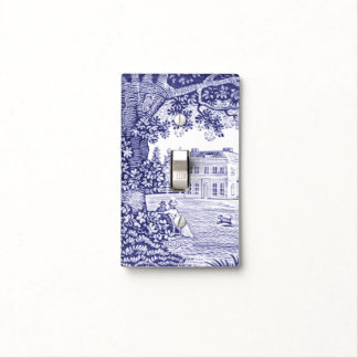 French Country Decor Blue Toile Light Switch Cover