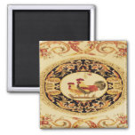 French Country Design Rooster & Hen Fridge Magnet